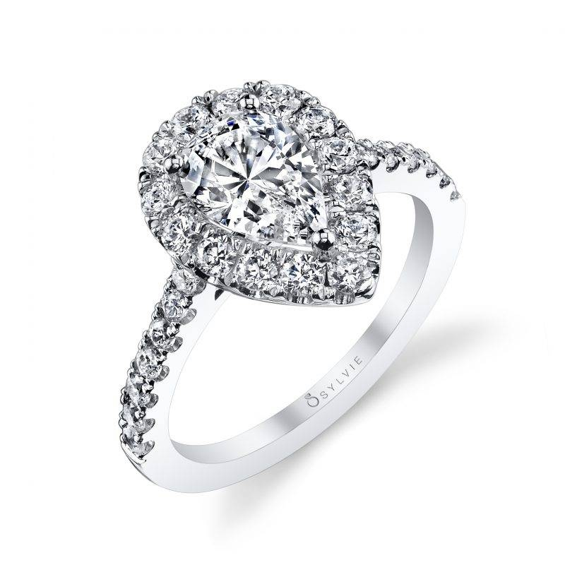 Colette - Pear Shaped Engagement Ring with Halo - S1199