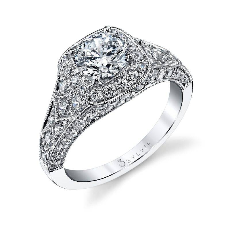 Léa - Vintage Inspired Cushion Cut Halo Engagement Ring - SY453
