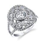 Vintage Inspired Bezel Set Engagement Ring with Split Shank_S1238-115A4W10R