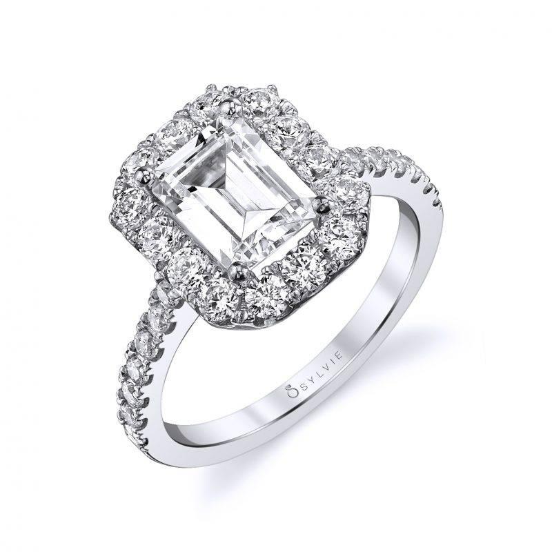 Berdine - Emerald Cut Halo Engagement Ring - S1299