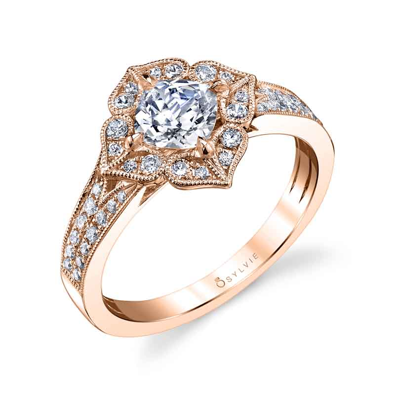 Flower Inspired Cushion Cut Halo Engagement Ring_S1348-034A4W10C