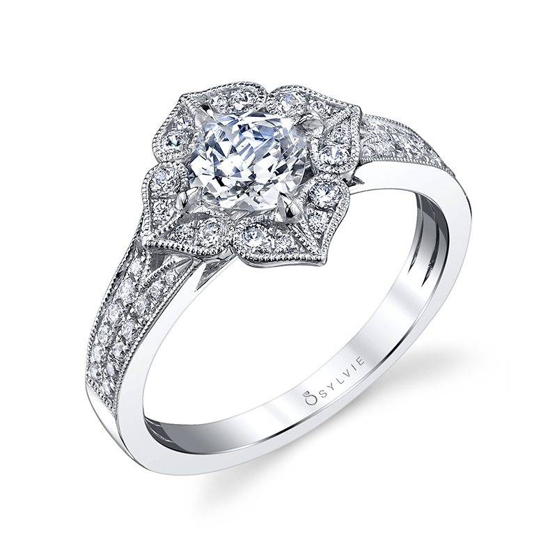 Liliane - Glamorous Floral Halo Engagement Ring - S1085