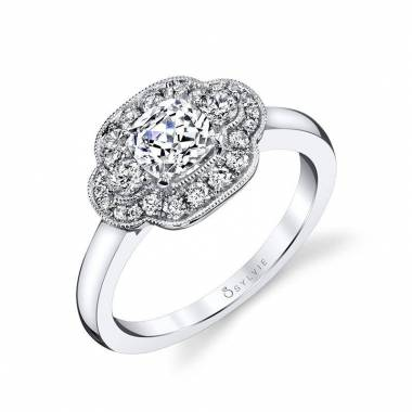 Modern Vintage Cushion Cut Halo Engagement Ring_S1367-037A4W07C