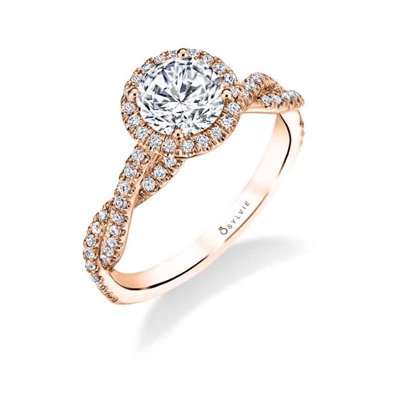 Ava – Modern Spiral Engagement Ring with Halo
