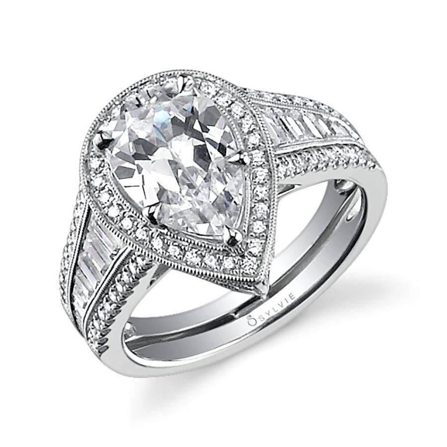 engagement rings pear a featuring shaped product design center shoulder ten diamond stones ring contemporary and