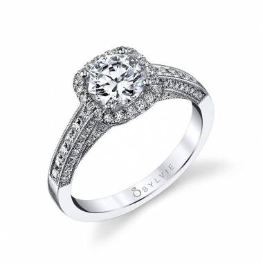 Elayna - Vintage Inspired Round Engagement Ring with Cushion Halo - SY652