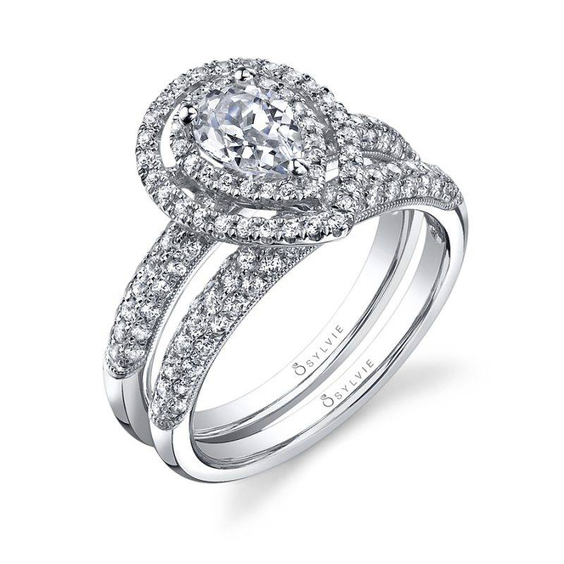 Marie-Êve - Pear Shaped Engagement Ring with Double Halo - SY688