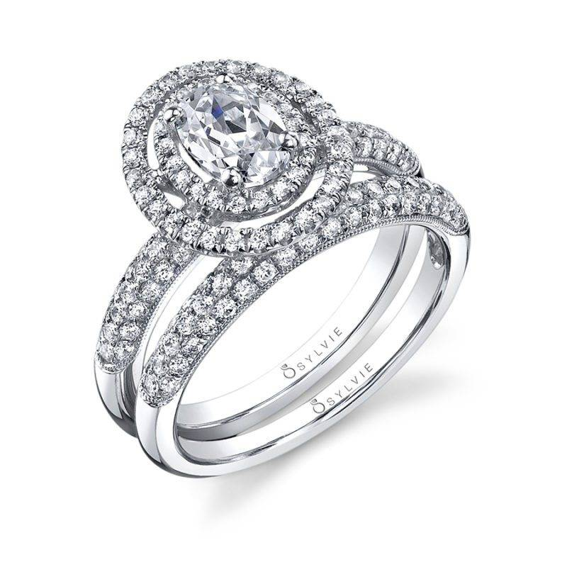 Claudia - Oval Shaped Double Halo Engagement Ring - S1086
