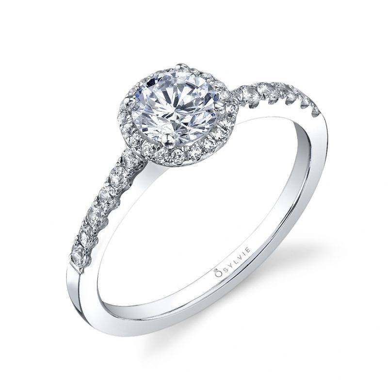 Jacalyn - Two Tone Cushion Halo Engagement Ring - S1199