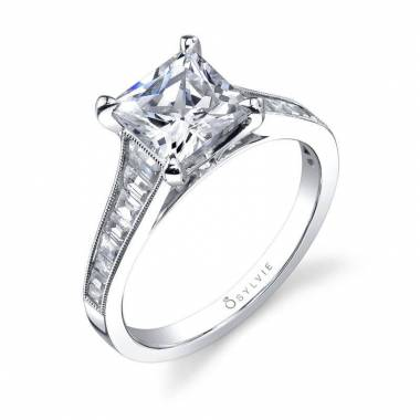 Colletta - Modern Princess Cut Baguette Engagement Ring - SY711
