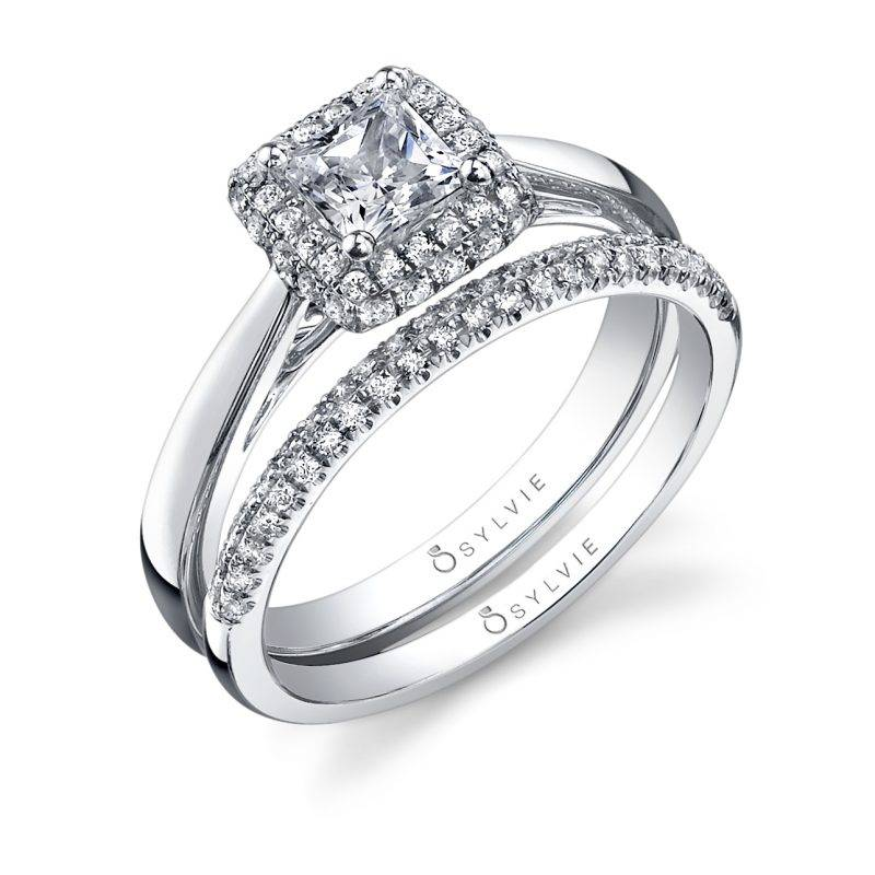 Destanee - Hand Engraved Princess Cut Engagement Ring - SY883