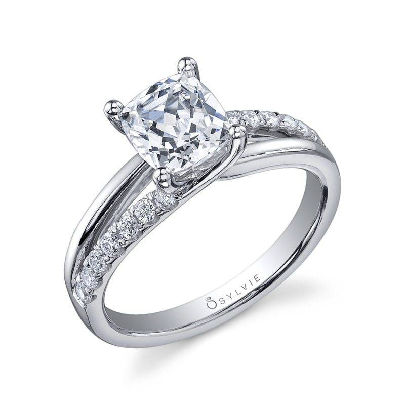 Annabelle - Split Shank Engagement Ring with Halo - SY094