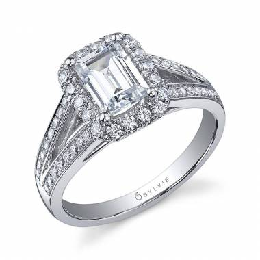 Filipa - Split Shank Engagement Ring with Halo - S1130