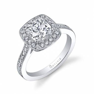 Adele – Modern Cushion Halo Engagement Ring