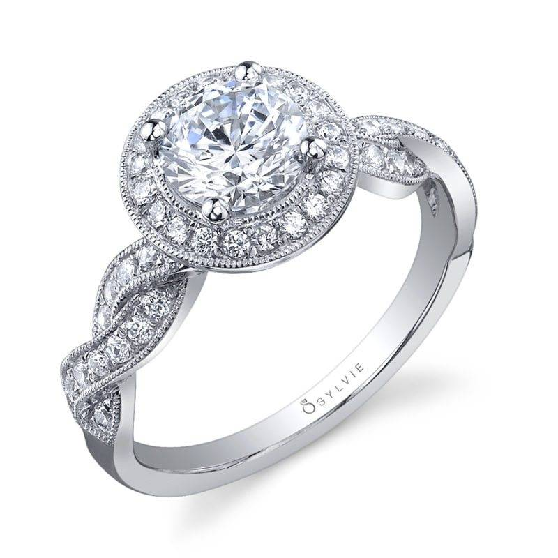 Faustine - Classic Spiral Halo Engagement Ring - S1078