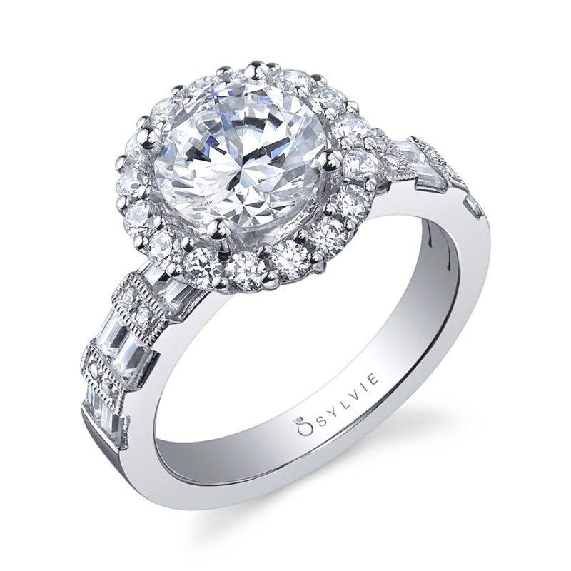 Lysandra - Marquise Shaped East to West Engagement Ring with Halo - SY630