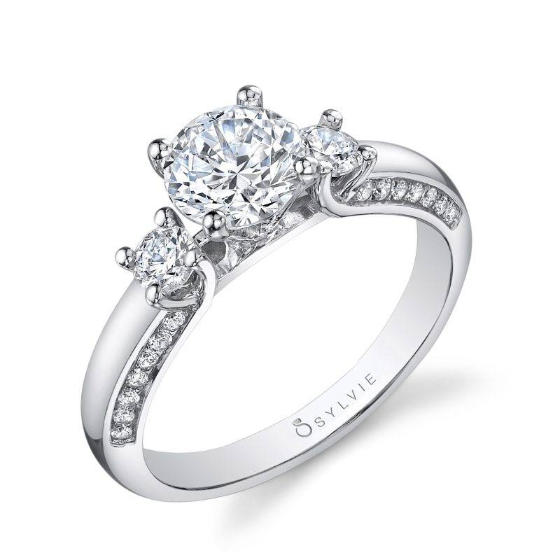 Sonia - Three Stone Engagement Ring with Halo - S4110