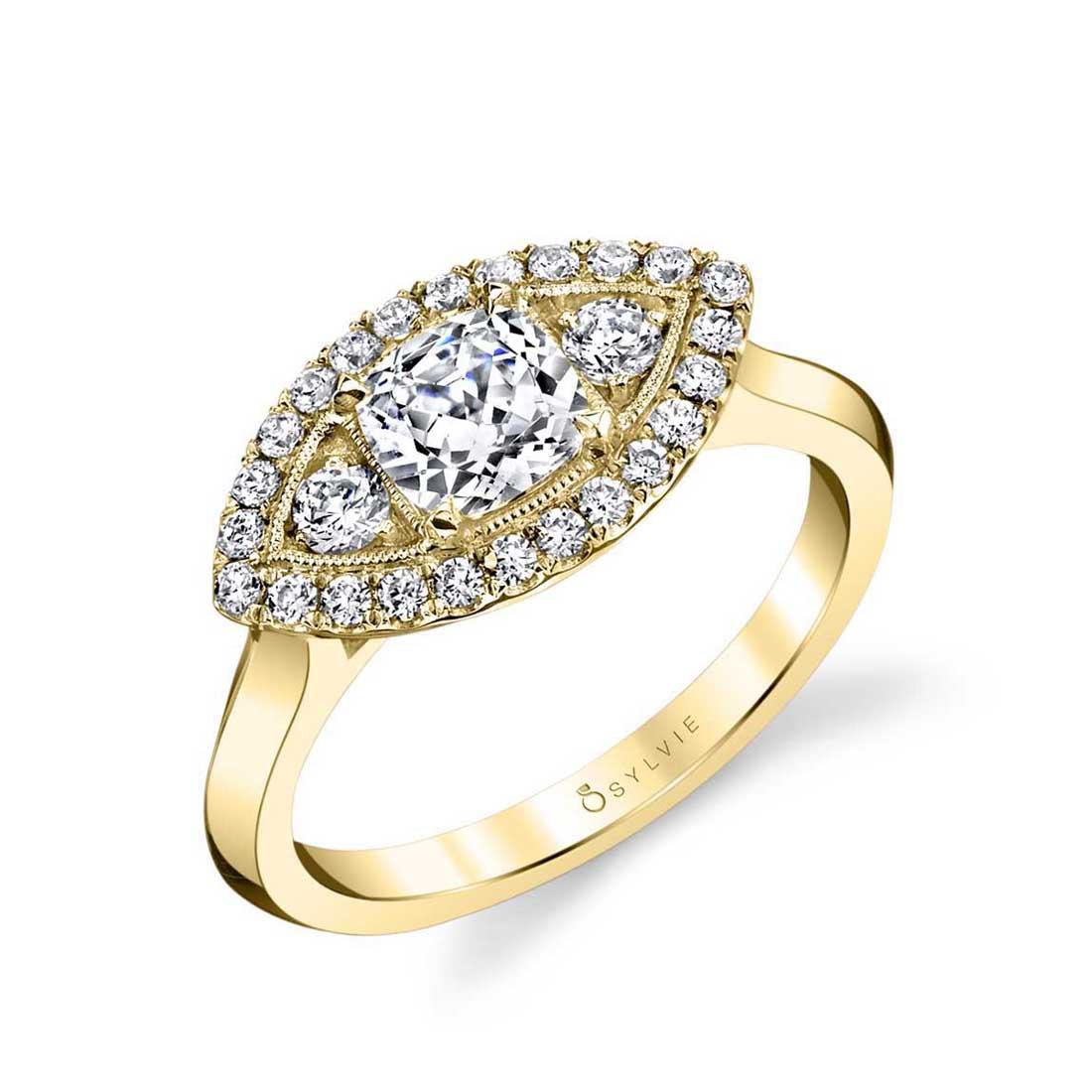 Unique Marquise Engagement Ring Sylvie-S1380