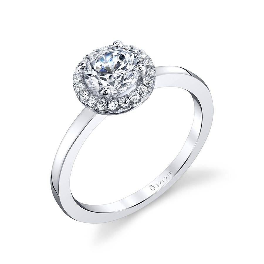 Bernadine - Modern Halo Engagement Ring