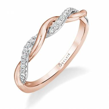 Rose Gold & Diamond Spiral Wedding Band