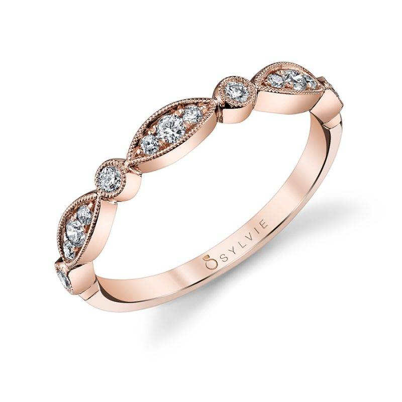 Justine - Rose Gold Stackable Wedding Band - B0019