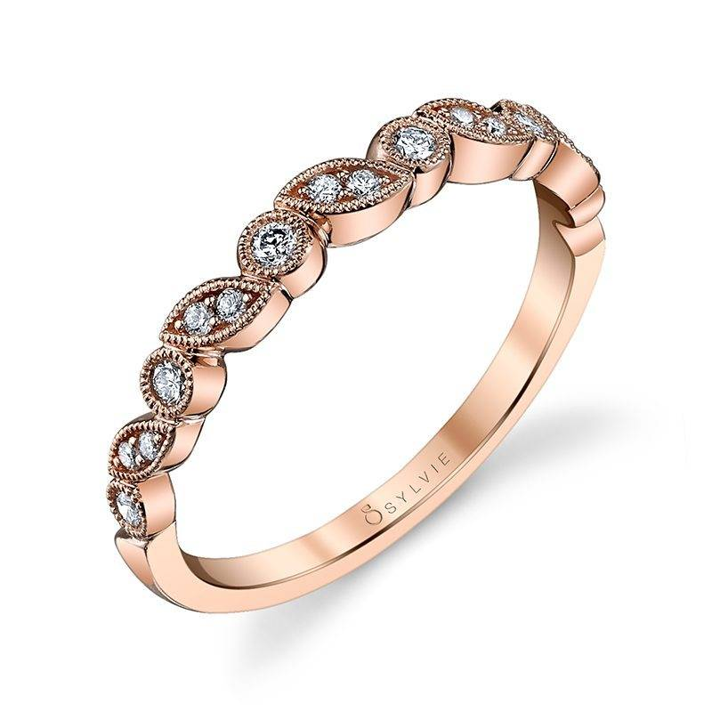 Béatrice - Round Rose Gold & Diamond Stackable Wedding Band - B0012