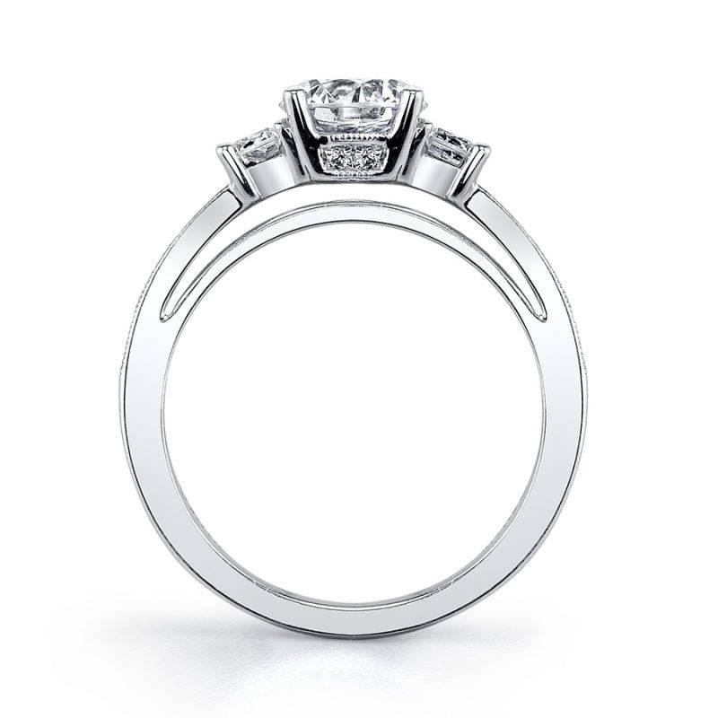 Paris - Three Stone Halo Engagement Ring - SY172