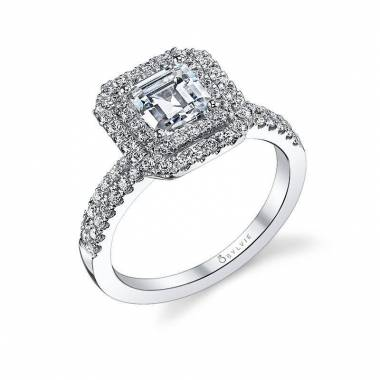 Daveney – Classic Emerald Cut Center Double-Halo Engagement Ring