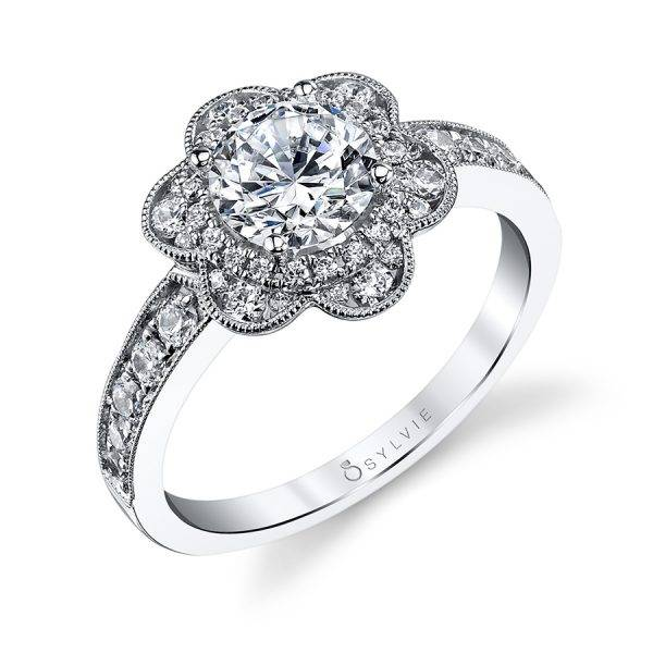 Fleur – Flower Inspired Halo Engagement Ring