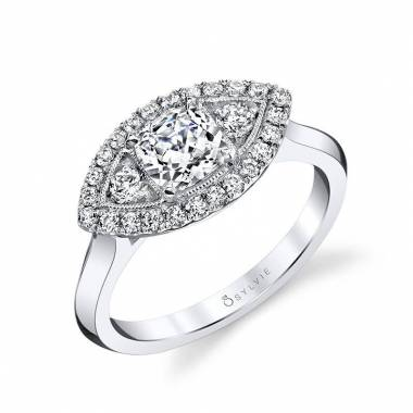 Cushion Cut Marquise Shaped Halo Engagement Ring
