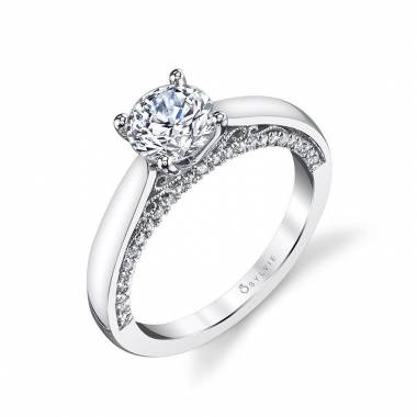 Solitaire Engagement Ring with Diamond Profile