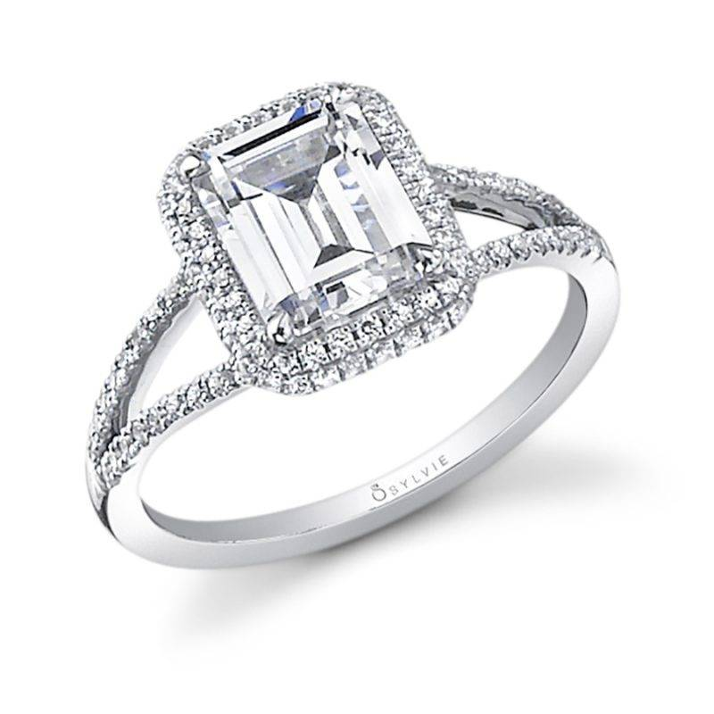 Danielle - Unique Flower Engagement Ring with Split Shank - S1045