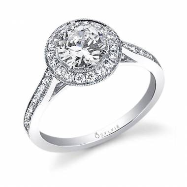 Vintage Inspired Princess Cut Engagement Ring with Halo