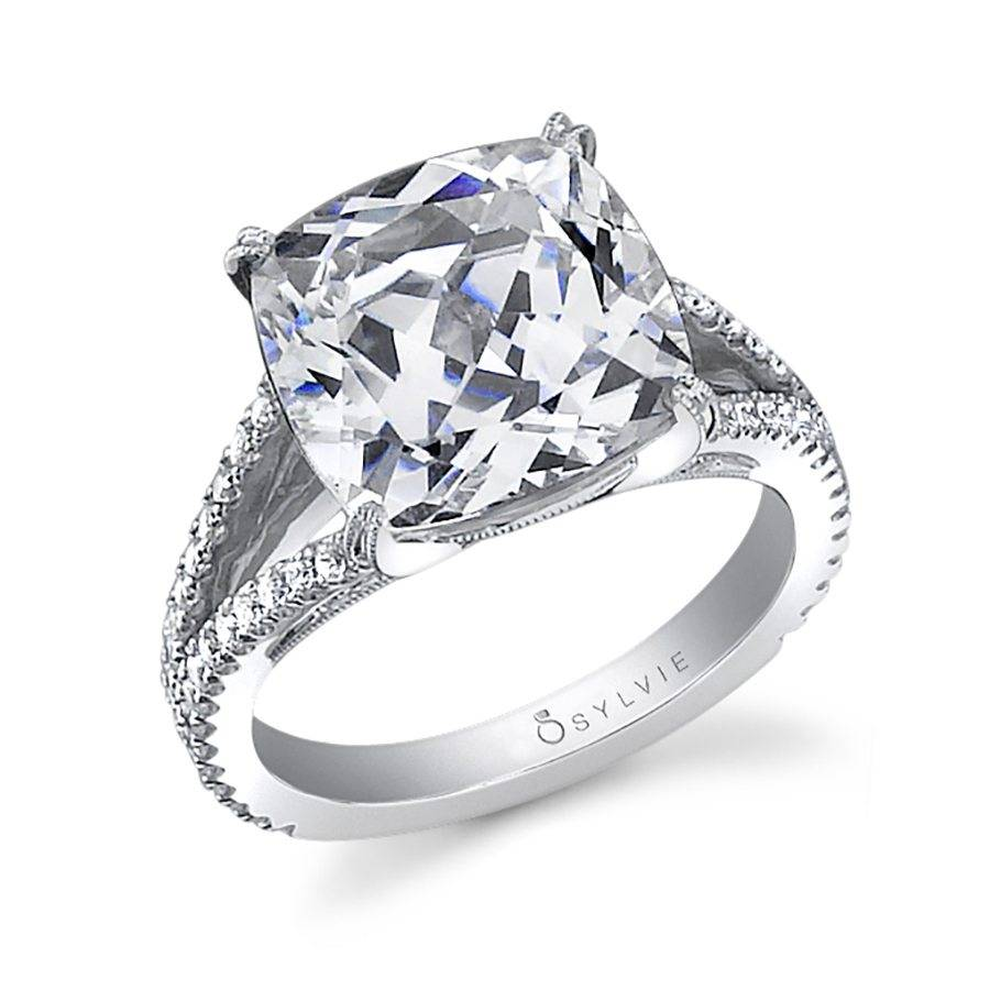ring rings cushion double engagement split rockher prong in diamond cut classic white petite gold