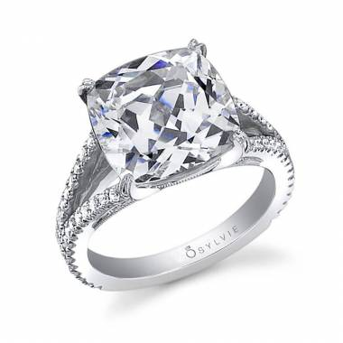 Cushion Cut Split Shank Engagement Ring