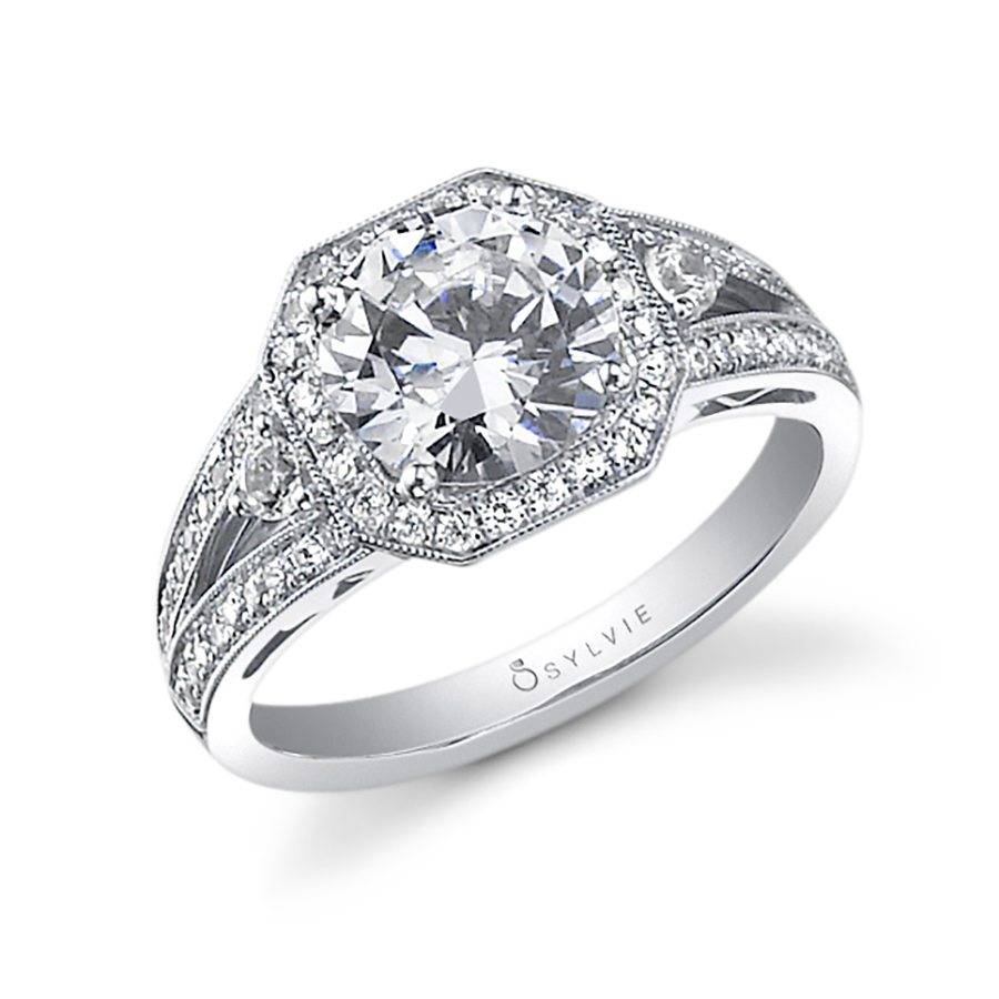 Solange - Vintage Inspired Engagement Ring with Halo ...