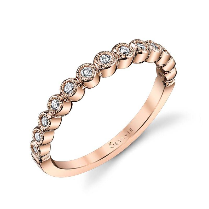 Béatrice – Round White Gold & Diamond Stackable Wedding Band