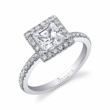 Véronique - Princess Cut Halo Engagement Ring - SY999