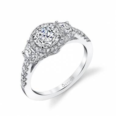 Mariam - Modern Three Stone Engagement Ring - SY954