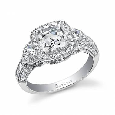 Three Stone Cushion Cut Halo Engagement Ring