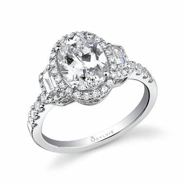 Adeline - Three Stone Halo Engagement Ring - SY596
