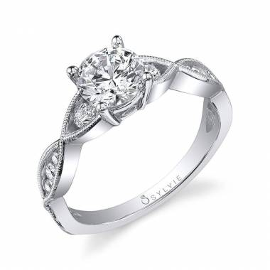 Round Spiral Solitaire Engagement Ring