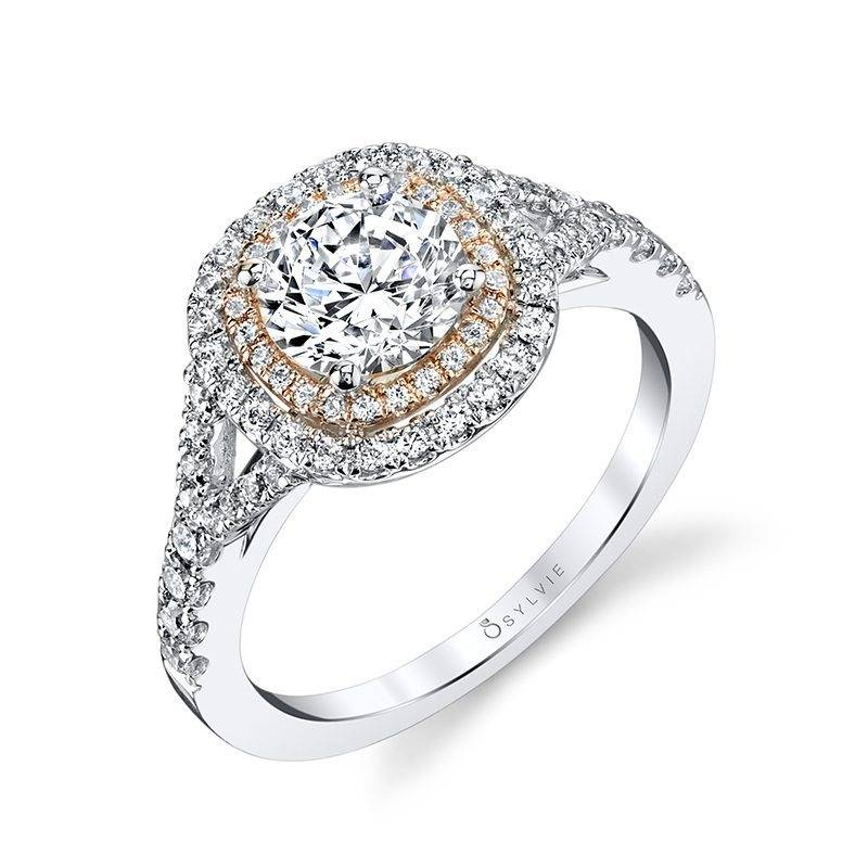 Rose - Cushion Shaped Double Halo Engagement Ring with Two-Tone Accents - S1100