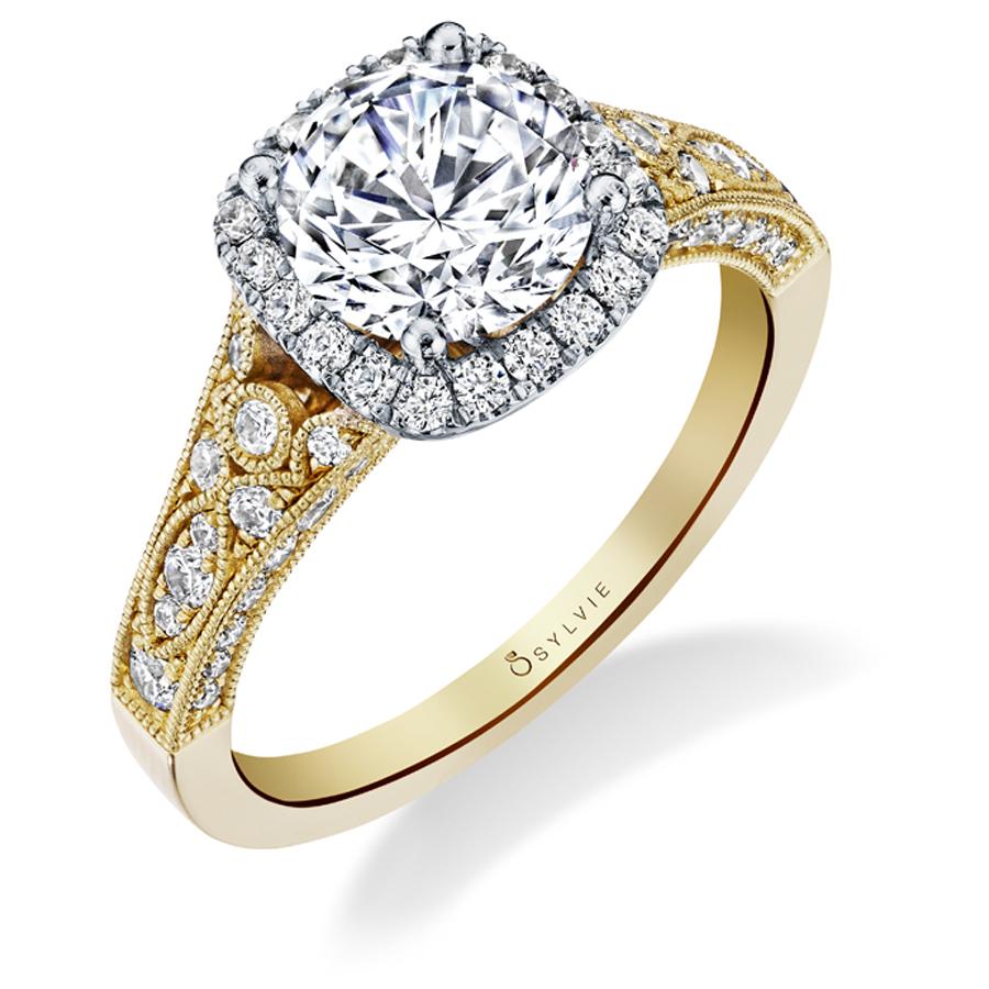 Cheri Vintage Inspired Halo Engagement Ring
