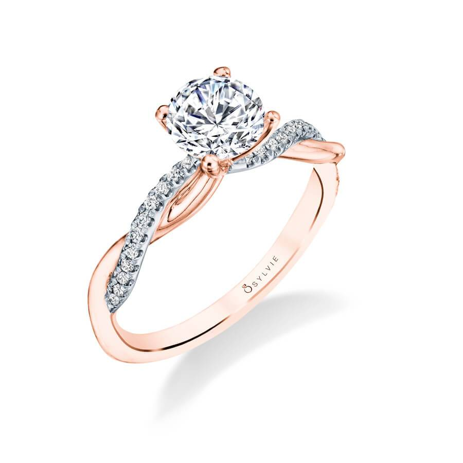 Emilie – High Polish Rose Gold Spiral Engagement Ring