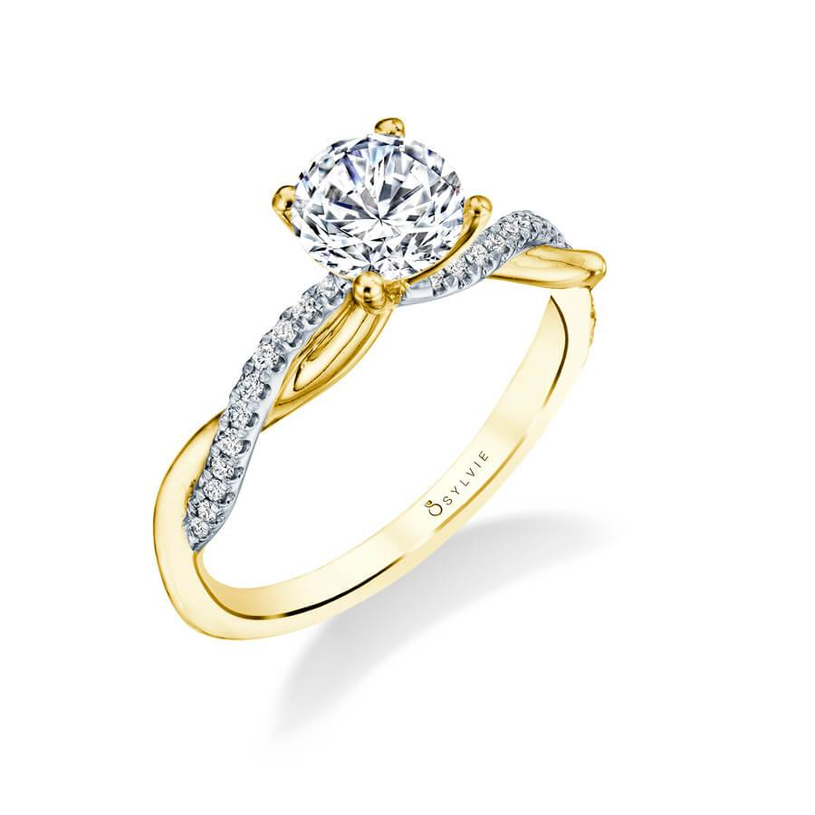 Emilie – High Polish Yellow Gold Spiral Engagement Ring