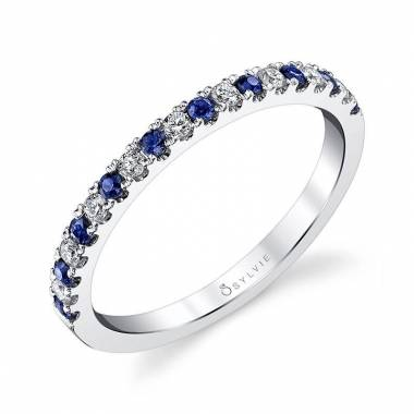 Classic Blue Sapphire & Diamond Wedding Band