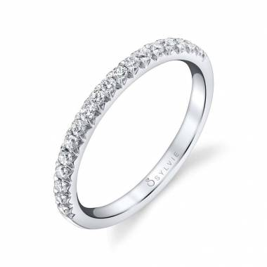 Béatrice - Round White Gold & Diamond Stackable Wedding Band - B0012