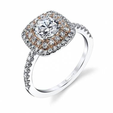 Melodie - Two Tone Double Halo Engagement Ring
