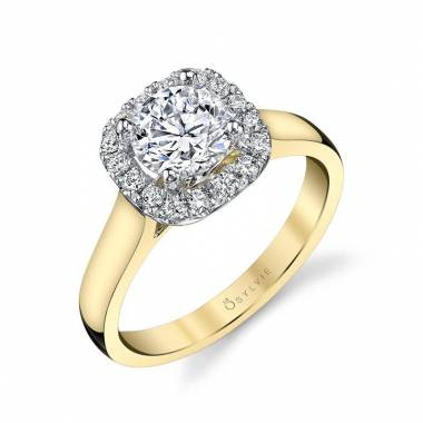 Therese - Two Tone Cushion Halo Engagement Ring